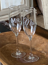 Load image into Gallery viewer, Mix and Match, Mr & Mrs Champagne Toasting Flutes | Set of 2
