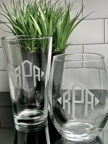 Mix + Match Monogrammed Pint & Stemless Wine Glass Set