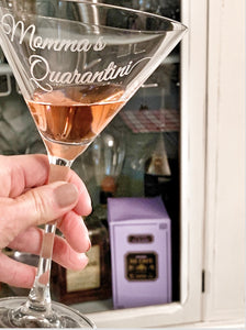"Personalized ""Quarantini"" Martini Glass"