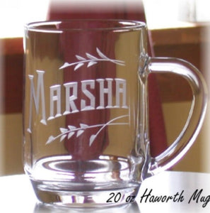20 oz Hand Cut Coffee Mug Personalized with Name and Leaves