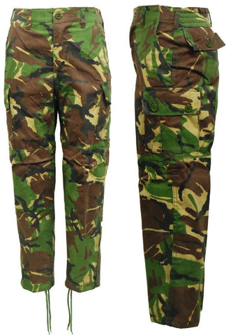 Kids Boys Camo Army Woodland Camouflage Cargo Trousers
