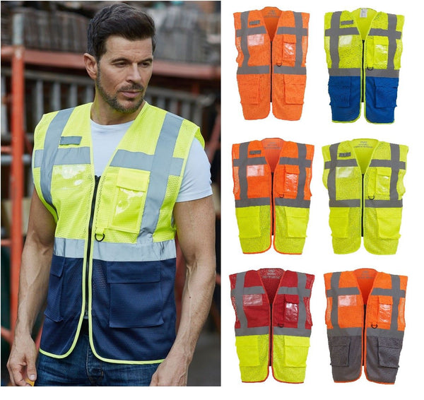 Hi Vis Viz Vest Safety Zip Executive Visibility Waistcoat Open Mesh Breathable