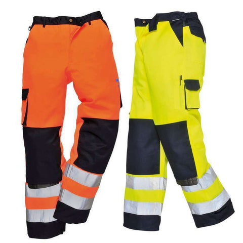 Hi vis Contrast Work Trouser with Knee Pad Pockets