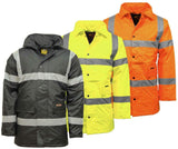 Hi Viz Visibility Parka Jacket Two Tone Security Work Wear Coat Waterproof