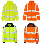 Mens Premium Safety Work Fleece Hi Vis Viz Visibility Lined Work Fleece Jacket