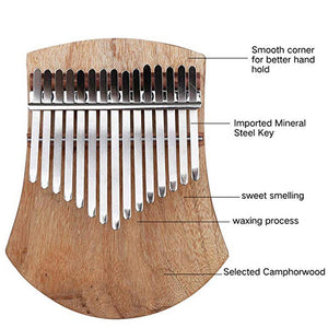 GECKO 17 Keys Kalimba African  Thumb Piano Finger Percussion (Camphor Wood)