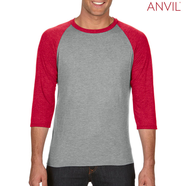 6755 Anvil Adults Tri-Blend ¾ Sleeve Raglan T-Shirt