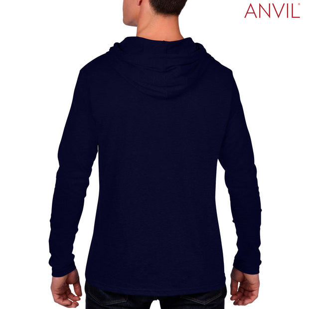 987 Anvil Adults Lightweight Long Sleeve Hooded T-Shirt