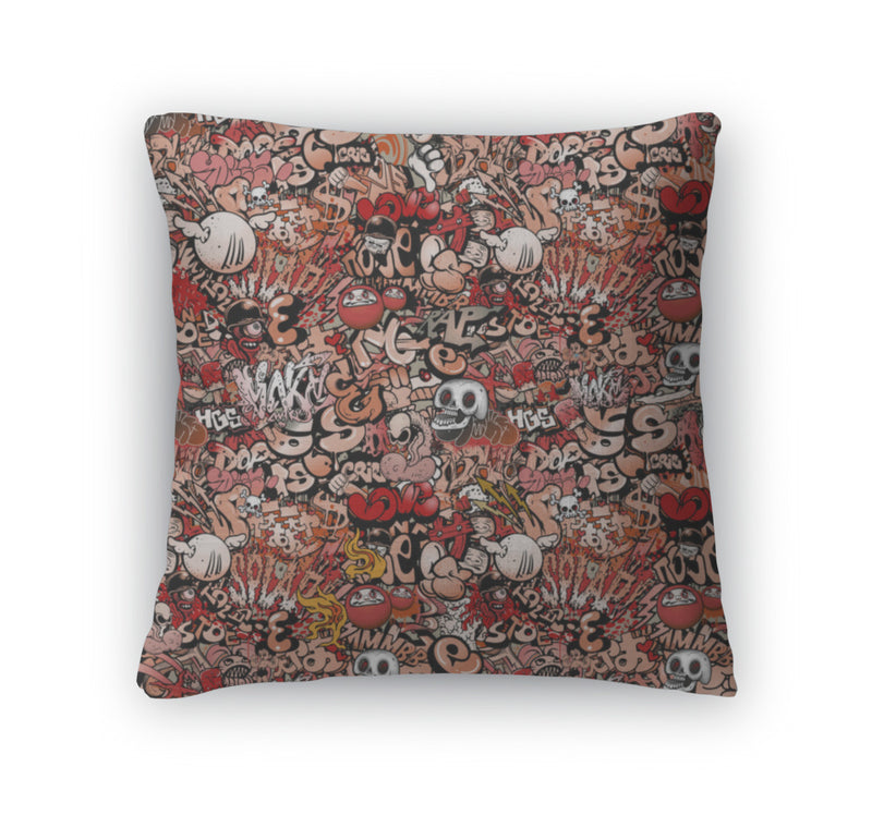 Throw Pillow, Graffiti Pattern