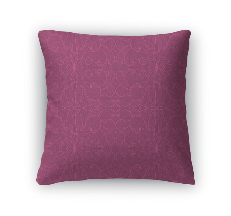 Throw Pillow, Floral Pattern On A Dark Pink