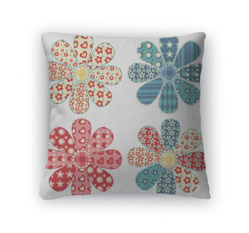 Throw Pillow, Set Of Four Quilt Flower