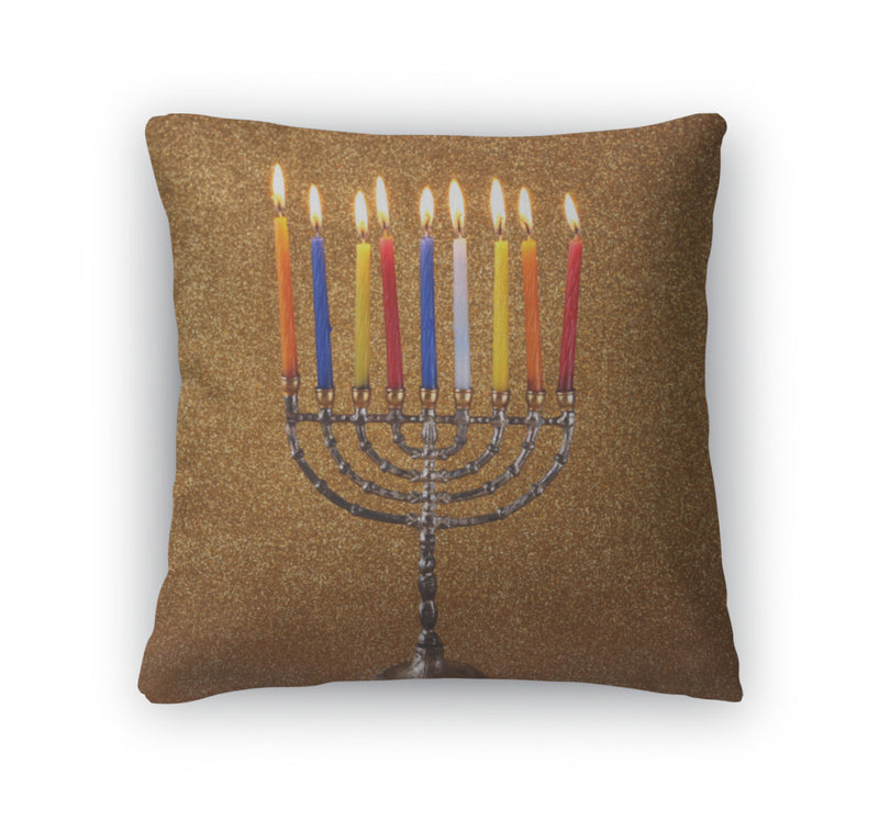 Throw Pillow, Menorah With Candles And Glitter Lights Hanukkah Concept