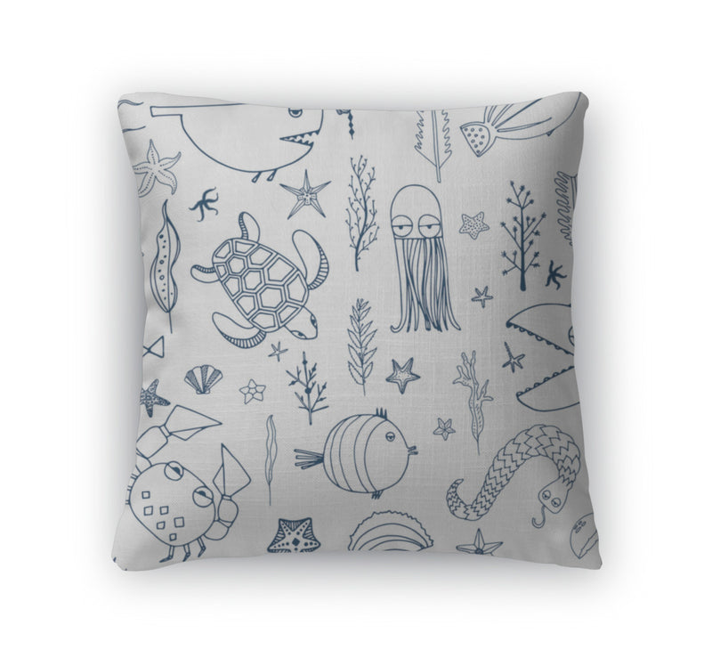 Throw Pillow, Underwater Pattern