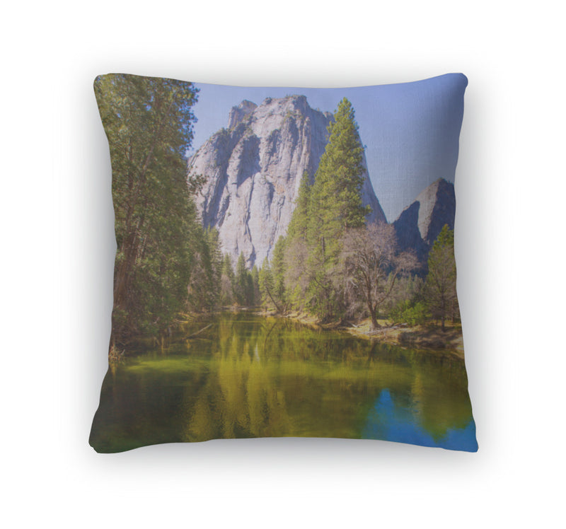 Throw Pillow, Yosemite Merced River And Half Dome In California
