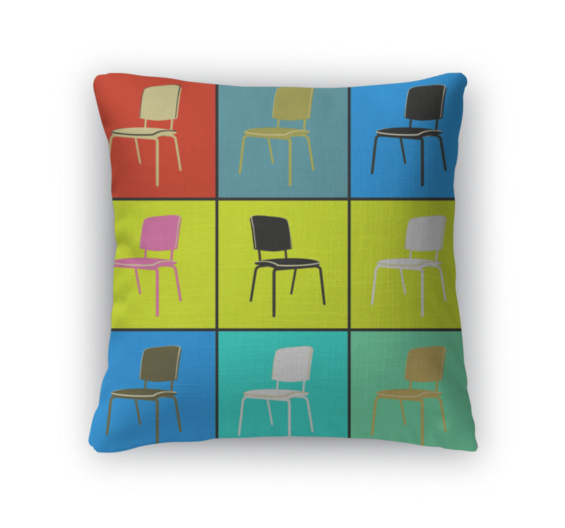 Throw Pillow, Pop Art Chairs