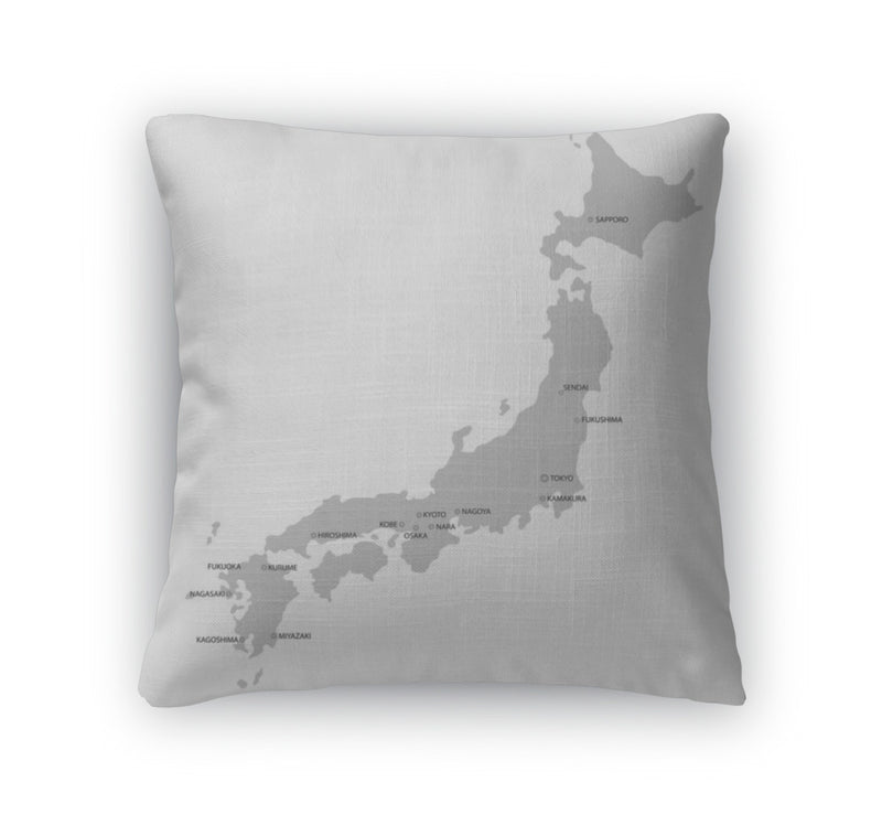 Throw Pillow, Japan Map