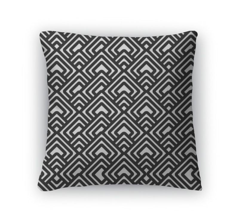 Throw Pillow, Geometric Black White Pattern