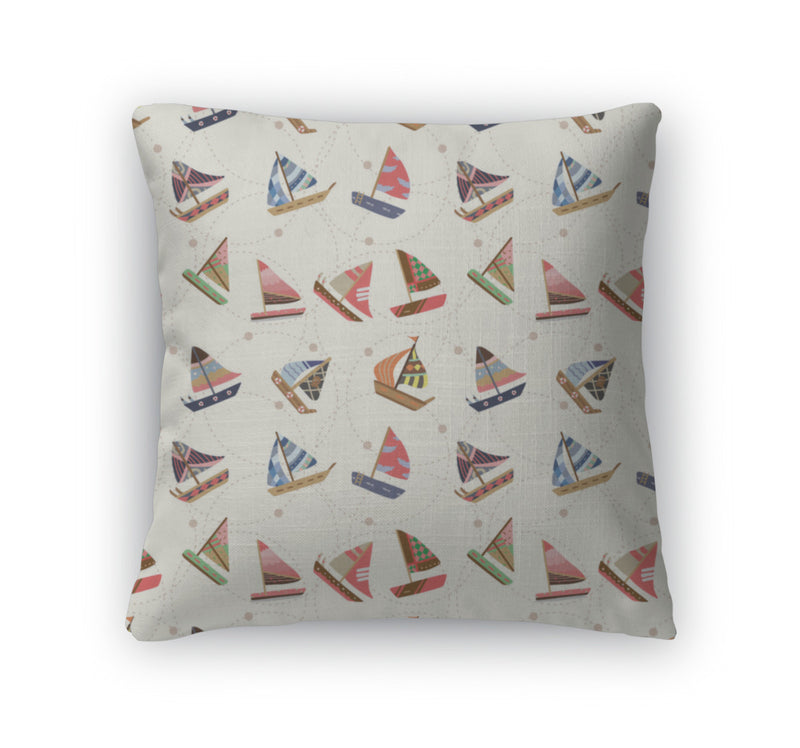 Throw Pillow, Sailboat Pattern