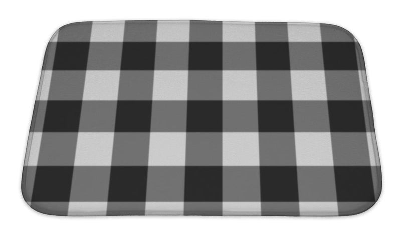 Bath Mat, White And Black Plaid Fabric