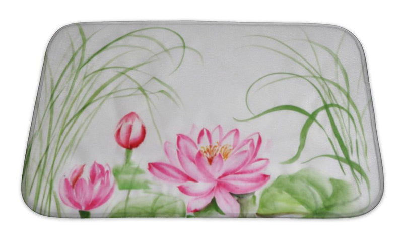 Bath Mat, Lotus Flower Watercolor Painting