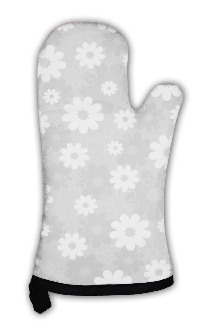 Oven Mitt, Gray Floral Pattern