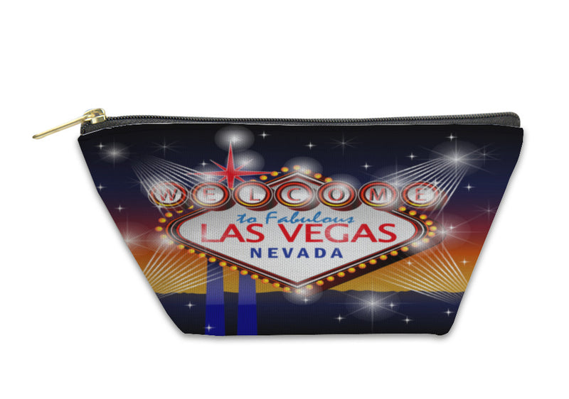 Accessory Pouch, Welcome To Fabulous Las Vegas Nevada Sign In Blue Gold Backgroun