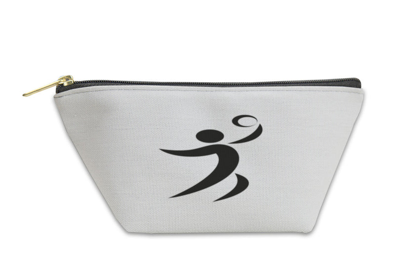 Accessory Pouch, Volleyball Icon On Square Monochrome On White