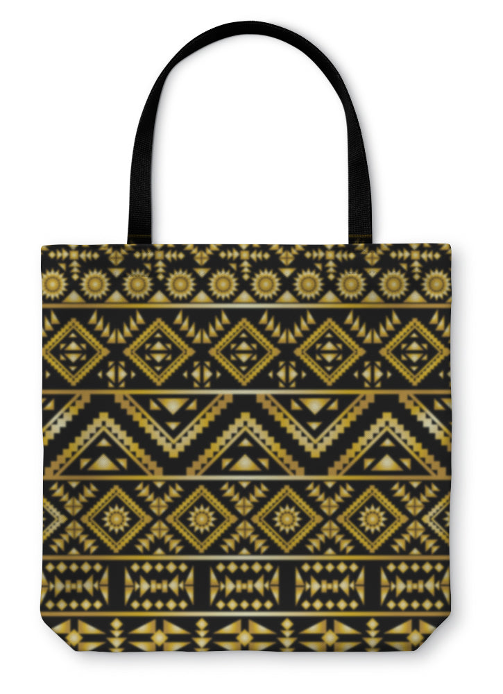 Tote Bag, Aztec Pattern Art Deco Style