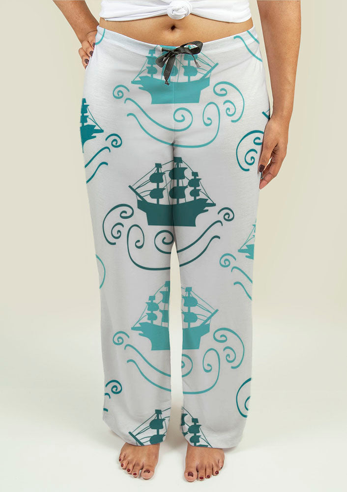 Ladies Pajama Pants with Ships at Sea