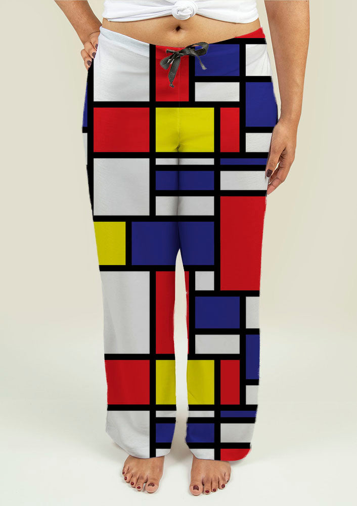 Ladies Pajama Pants with Mondrian Design
