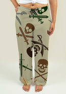Ladies Pajama Pants with Skull and Swords