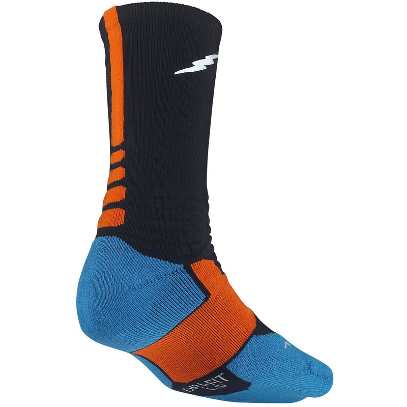Nike KD Kevin Durant Hyper Elite Cushioned Men's Basketball Crew Socks - Black / Blue /Orange
