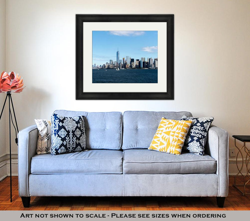 Framed Print, New York City Manhattan Skyline One World Trade Center Tower
