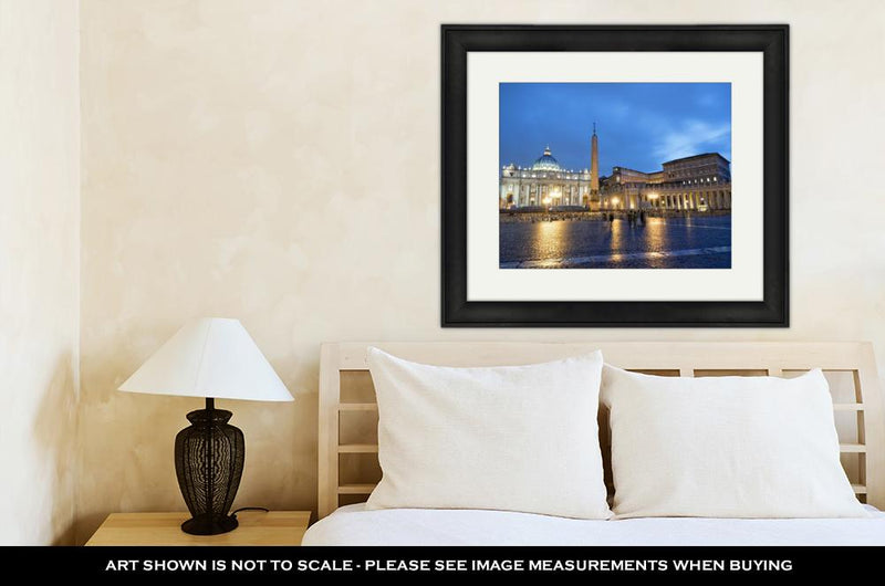 Framed Print, Colosseum Rome Vatican Place Saint Peter Cathedral At Night