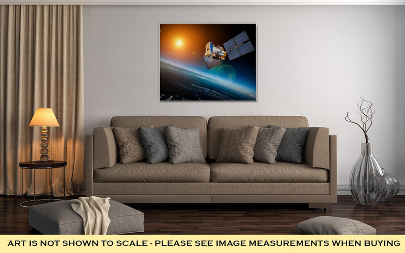 Gallery Wrapped Canvas, Space Satellite Orbiting The Earth On A Star Sun Elements Of This Image