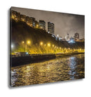 Gallery Wrapped Canvas, La Costa Verde Green Coast At Night