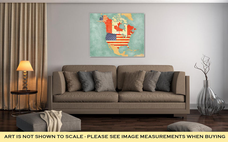 Gallery Wrapped Canvas, USA And Canada On The Outline Map Of North America The Map Is In Vintage Summer