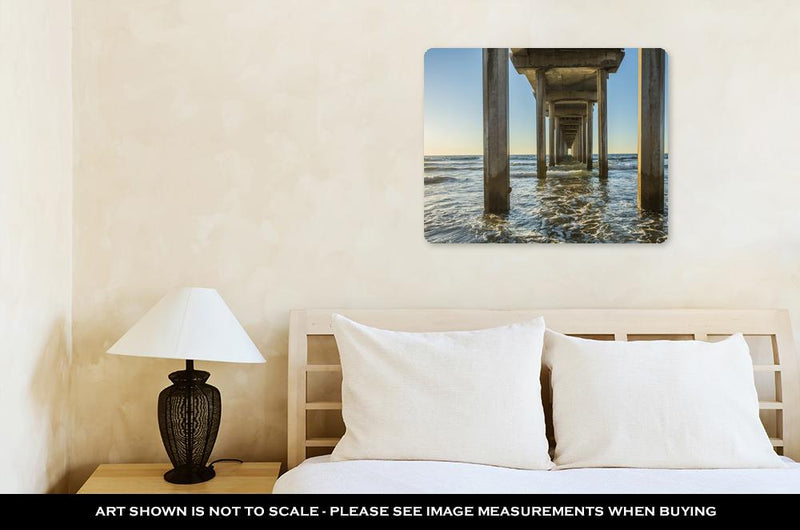 Metal Panel Print, Symmetrical Shot Under Scripps Pier With Waves During Sunset In La Jolla San