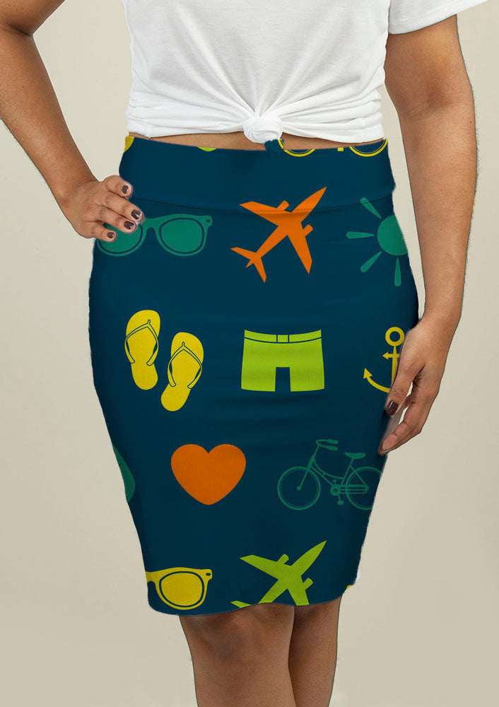 Pencil Skirt with Summer Theme