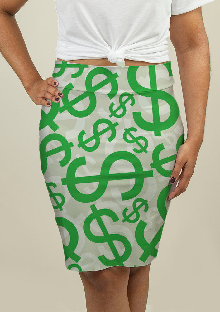 Pencil Skirt with Dollar Signs