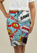 Pencil Skirt with Comic Speech Bubbles