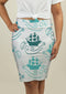 Pencil Skirt with Ships at Sea