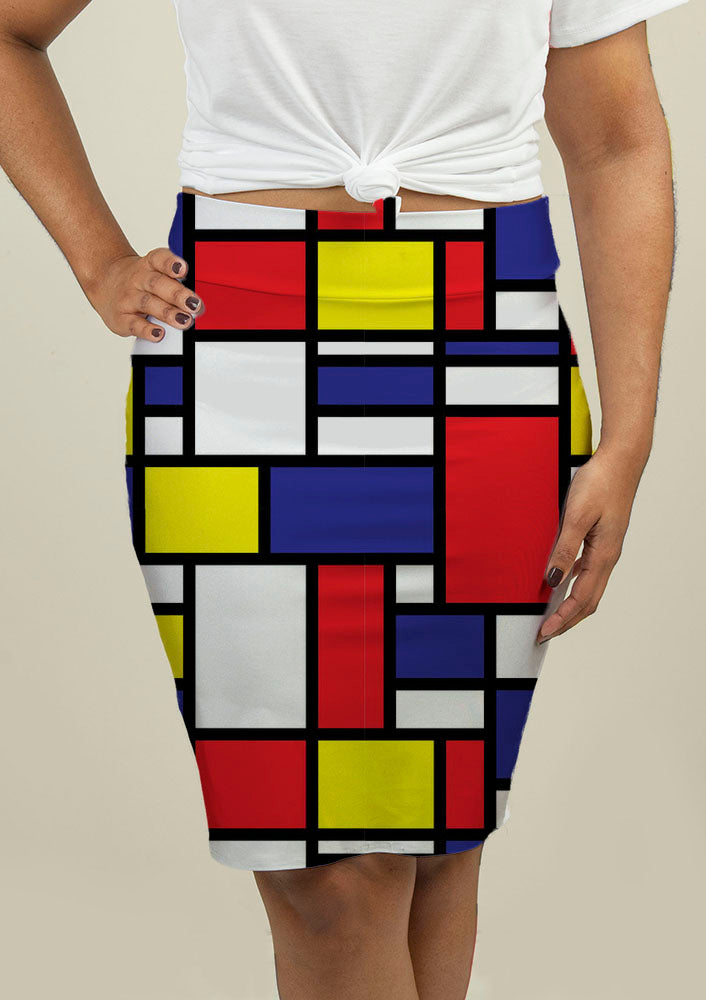 Pencil Skirt with Mondrian Design