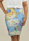Pencil Skirt with Rainbows and Unicorns in the Clouds
