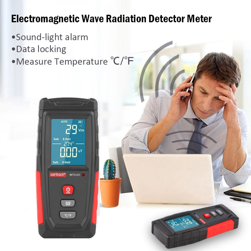 Electromagnetic Field Radiation Tester EMF Meter Electric Field Magnetic Field Dosimeter Detector Rechargeable Emission Dosimete