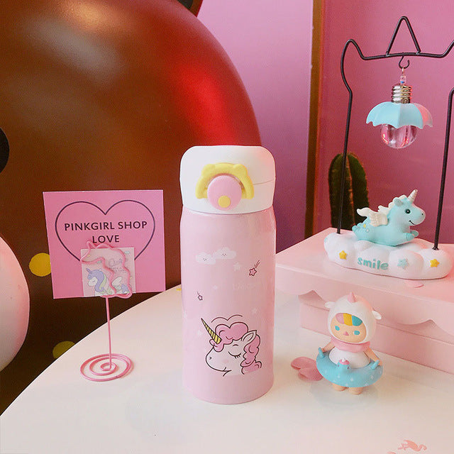 Kids Cute Unicorn Cartoon Water Bottle