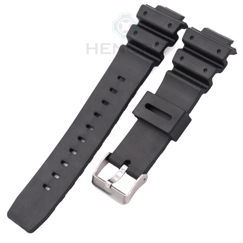 Silicone Watch Strap Band Men Black Sports Diving Rubber Watchbands Stainless Steel Buckle Accessories For Casio 9052 Series