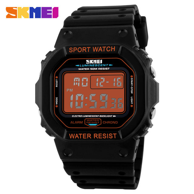 SKMEI watch outdoor sports running diving swimming waterproof led digital watches Military Shock Resistant watch