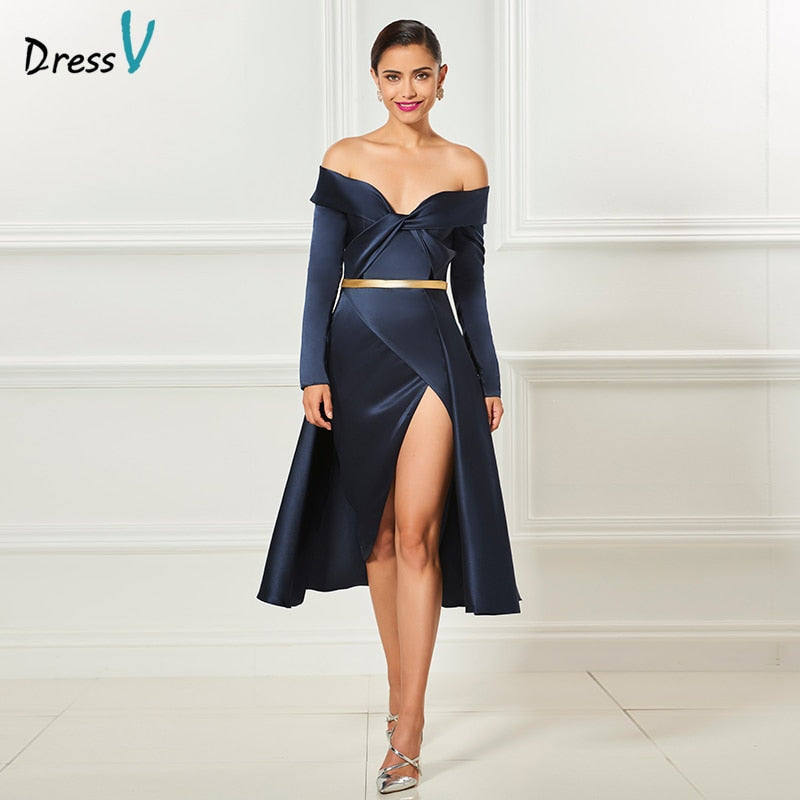 Dressv dark navy off the shoulder cocktail dress a line sashes tea length long sleeves elegant wedding party formal dresses