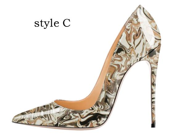 Carollabelly Stylish Women Pumps Elegant Hand Printing Pointed Toe Thin Heels Pumps Plus Size 4-14 Shoes Woman